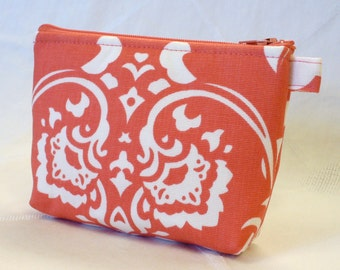 Bridesmaid Cosmetic Bag Damask Fabric Gadget Pouch  Zipper Pouch Makeup Bag Cotton Zip Pouch Coral White MTO