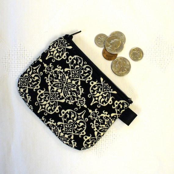 Fabric Coin Purse Black and Cream Damask Zipper Mini Change Purse Handmade