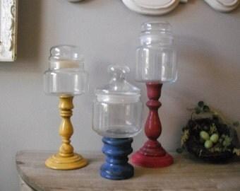 3 upcycled apothecary pedestal jars .... Raspberry Blueberry Lemon BOHO base Party Wedding Display