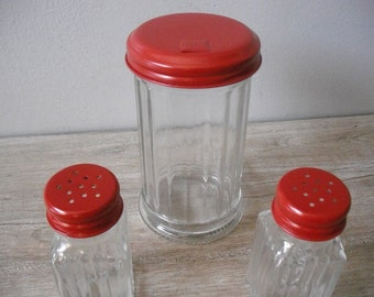 Upcycled French country RED salt pepper and Sugar shaker set ... 3 pcs restaurant Style Farm house chic