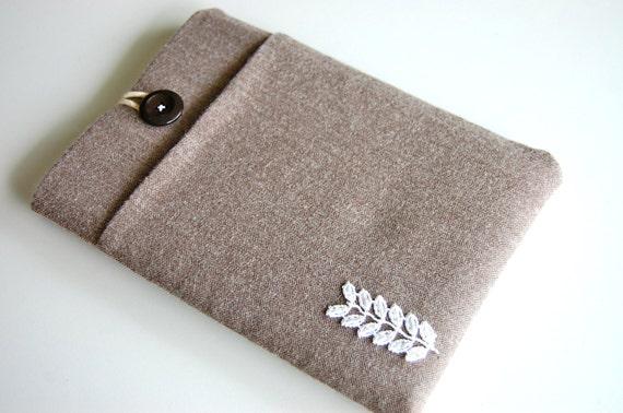 iPad Mini Case Nexus 7 Case with Pocket Custom Sleeve Cover - Herringbone and Lace