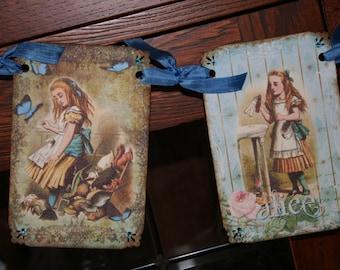 Alice in Wonderland banner / garland with crystal rhinestones