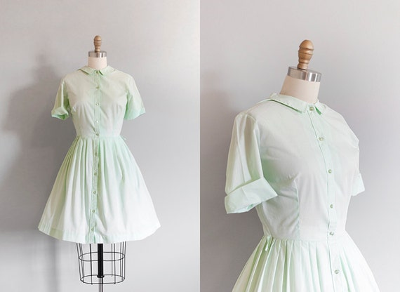 1950s MINT Shirtwaist Dress // Large
