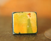 Jane Austen Inspired Ring Sense and Sensibility Hand Painted Adjustable  - Elinor Dashwood.
