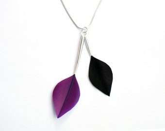 Minimalist Leaf Shape Feather Necklace with Silver Stems in Purple and Jet Black