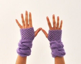Fingerless Gloves Wrist Warmers Purple Mohair Soft Warm Cozy Lavender Amethyst Lilac Gift for Her