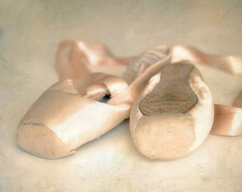 "Ballet shoes pastel pink romantic spring dreamy pointe shoes   - ""Dance Away"" 8 x 10"