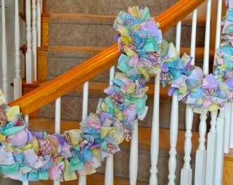 Pastel  Spring  Garland Without Ornaments,Fabric Garland,Spring Decoration,Easter Decoration,Spring Garland,Party Decoration