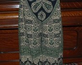"Hippie Pants - Tapestry - 381/2"" long - Hips 47"" - Green Tier Drop Kalamkari Design - read measurements"