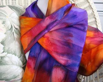 Scarf, Silk, Women, Hand Dyed, Party Life Silk Scarf, Purple Fuschia Orange Yellow