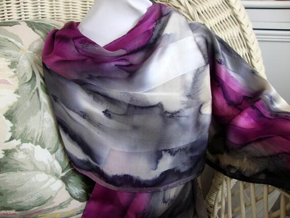 Scarf, Silk, Women, Hand Dyed, Elegant Love Silk Scarf, Charcoal Purple White