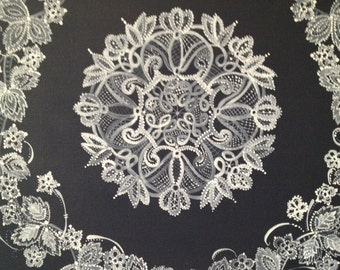 Hand painted lace on stretched canvas