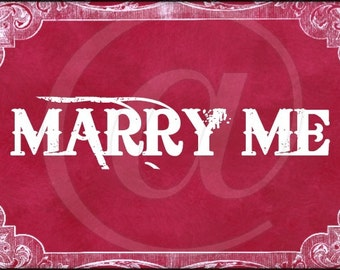 Red Lace Marry Me Valentine Postcard Digital Collage Sheet 4x6 - wedding proposal ATC ACEO greeting cards - U print 300dpi