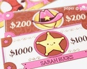 Pink Cowgirl Western Party Paper Toy Money or Gift Certificate Printables - Editable Text PDF-You type in the text to personalize