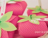 Strawberry Paper favor party box printables  - PINK COLOR Editable Text Printable PDF