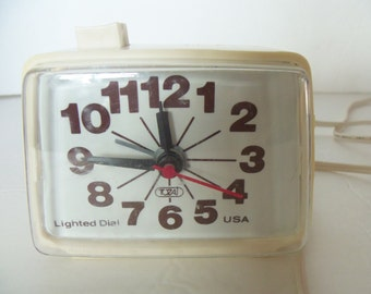 1970 Ingraham Lighted Dial Electric Alarm Clock by Toastmaster