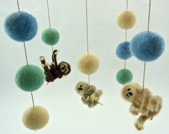 Mobile, Felted Sloths, Spring Colors, Baby Mobile, Sloth Nursery, Mint, Blue, Cream