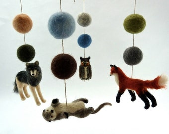 Baby Mobile, Woodland Animals, Pacific Northwest, Nature Themed Nursery, Great Horned Owl, Otter, Red Fox, Wolf, nature colors