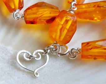 Genuine amber bright sterling silver heart bracelet - Valentines Day jewel tone - handmade gemstone wire wrapped jewelry