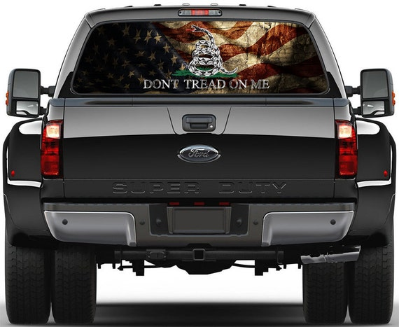 Gadsden USA Old Flag Dont Tread On Me Rear Window Graphic - Truck decals for back window