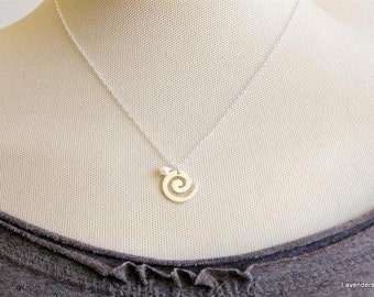 Spiral Necklace , Pregnancy Necklace , Sterling Silver Necklace , Pearl charm Necklace