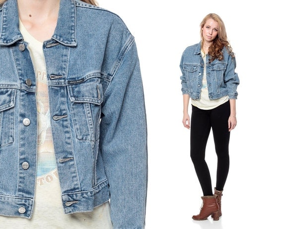 80s Denim Jacket Vintage Jean GUESS Faded Cropped Button Up