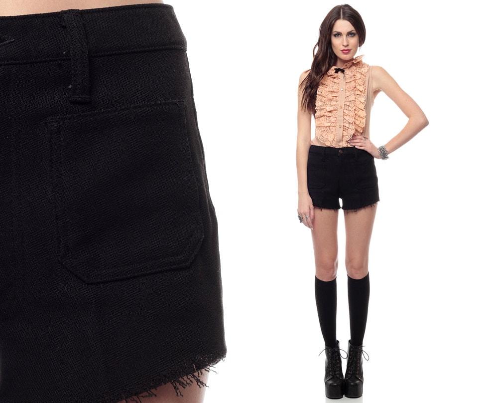 Black Cut Off Shorts 70s High Waisted Cutoffs 1970s FRAYED Hem