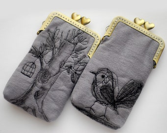 iPhone Case iPhone sleeve gadget case/Glasses Case (iPhone 7, iPhone 7 Plus, Samsung Galaxy S7 etc.) -- Free Motion Embroidery Bird and tree
