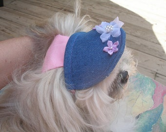 DENIM SUN VISOR / Hat - with or without flowers - 2 - 15 lb dogs- Made to order