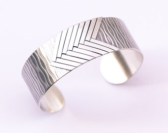 "Geometric silver cuff, playful design of light and dark lines with an overall multidimensional contrast rich look - ""Allegro Cuff"""