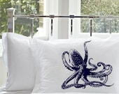 Two (2 for 20 dollars) Navy Blue Octopus Pillowcase standard covers pillowcases Pillow case navy sailor decor room bedding bedroom