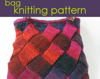 Entrelac Knitted Bag, Patchwork Bag Knitting Pattern PDF