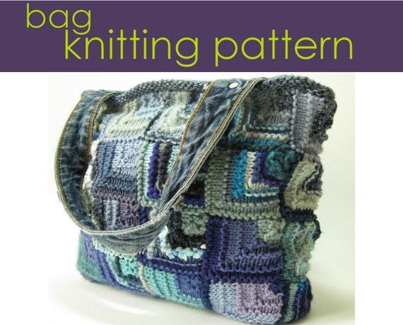 Mitred Square Bag Knitting Pattern Knitted Bag knitting