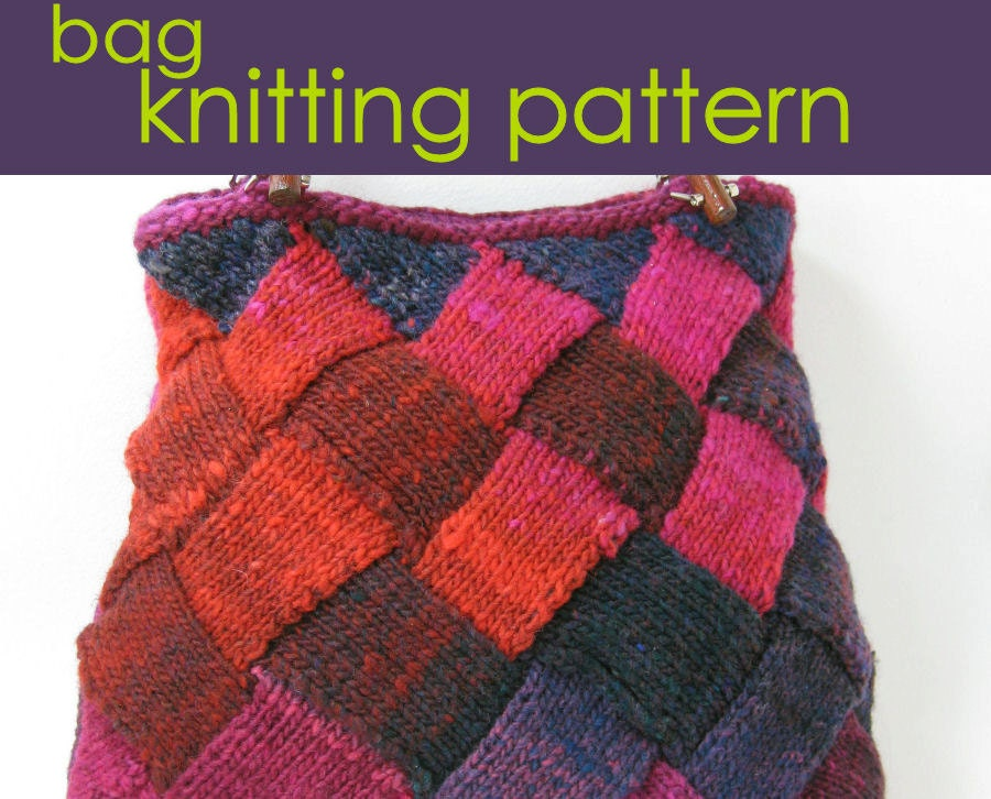 Entrelac Knitted Bag Patchwork Bag Knitting Pattern PDF