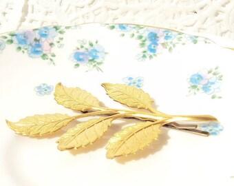 Golden Leaf Branch Hair Pin - Leaf Branch Bobby Pin - Large Golden Leaf Branch - Woodland Leaf Spray - Wedding Hair Accessory - Bridal Hair