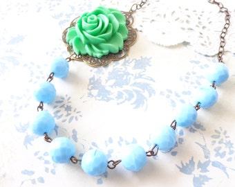 Clara - Vintage Beaded Flower Necklace - Blue Beaded Necklace - Green Flower Necklace - Whimsical - Bride