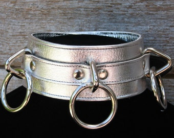 Metallic Silver Leather Collar with Three Rings
