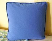 Blue Canvas Boxed Cushion Pillow Cover Beach Style Accent Pillow Toss Pillow