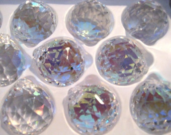 5 - AB IRIDESCENT 30mm Full Lead Crystal Chandelier Crystal Prism Faceted Ball - S-17