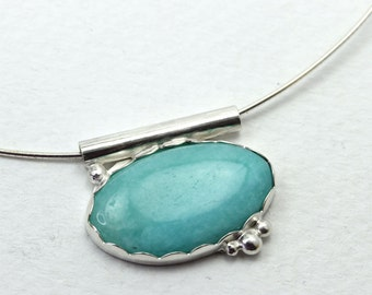 Handmade Aqua Amazonite Necklace with Sterling Silver Chain and Silver Bubble Accents