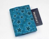 Fabric Passport Cover - Turquoise Blue Stars - QuiltSewCover