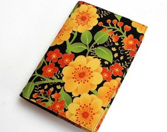 Jubilee Paperback Book Cover, Floral Cotton Fabric in Gold, Orange and Green on a black background, Mass Market, or Tall or Trade Size