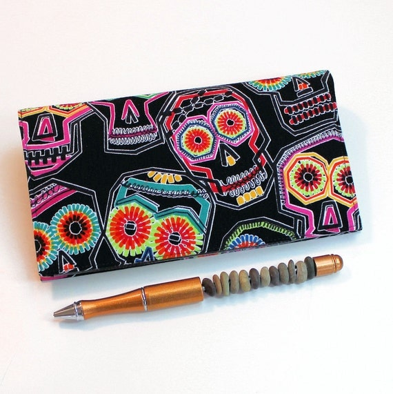Fabric Cheque Book Cover ~ Fabric checkbook cover with pen holder for duplicate checks