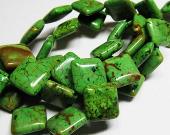 LOOSE Gemstone Beads - Magnesite Beads - 14x15mm Puffed Diamonds - Grass Green, Brown, Black (5 beads) - gem866
