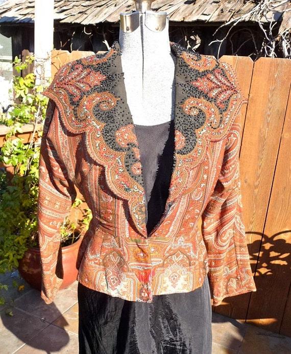 Antique 1930s Upcycle of 1880s Wool Paisley Shawl Exquisite Jacket With Black Beading & Peplum