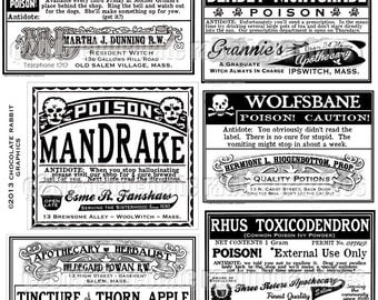 Halloween Witch Apothecary Labels Clip Art Printable Collage Scrapbook Black and White Image Sheet Philters, Brews, Elixirs