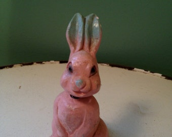 Vintage Easter Pink Bunny Nodder Bobble Head Peter Rabbit Style PINK RABBIT