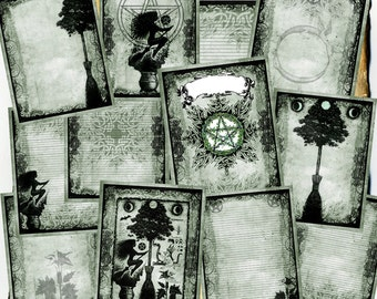 Digital BoS Pages - Green Hedge Witch - 12 original spell pages to download