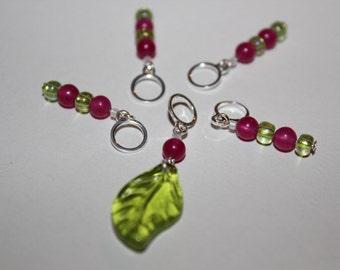 Secret Garden Spring stitchmarker set of 5 phat fiber leaf no snag stitch marker pink