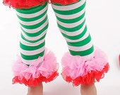 Legwarmers with Chiffon Ruffles, Strawberry Shortcake, Green Stripe with Pink and Red Ruffles, Tutu Tights, Double Ruffle